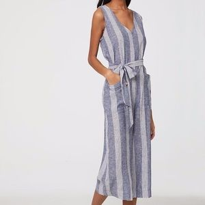 beach lunch lounge lennon junpsuit linen striped